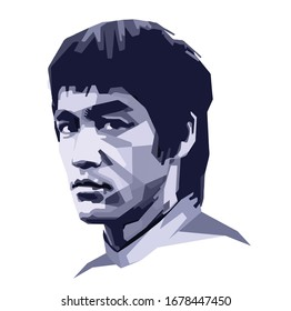 Indonesia, Mar 2020: vector isolated stylized illustration face head Bruce Lee Hong Kong and American professionally actor film Jeet Kune Do, one of the Wushu or Kungfu styles