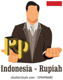 Indonesia national currency Indonesian rupiah symbol representing money and Flag. Vector design concept of businessman in suit with open hand over with currency isolated on white background in EPS10.