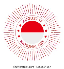 Indonesia national day badge. Declaration of Independence day from the Netherlands on August 17, 1945. Celebrated on August 17.