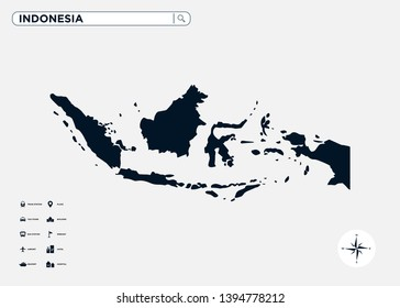 Indonesia or Nusantara nation map of Asia Continent with legend symbol, compass and search bar. Editable vector EPS-8