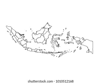 indonesia outline map. detailed isolated vector country border contour map on white background.