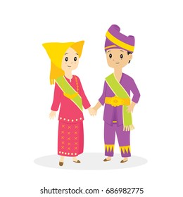 Indonesia - Padang couple wearing traditional dress vector illustration