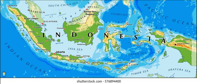 Indonesia physical vector map