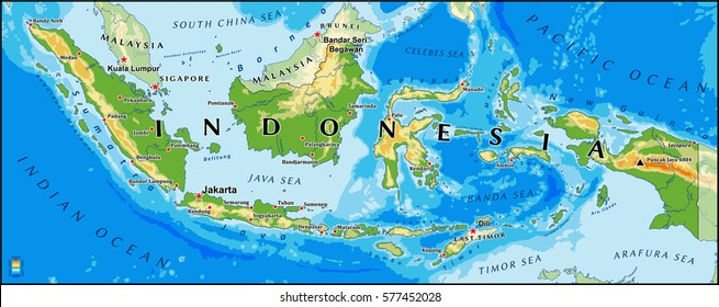 Indonesia physical vector map with main cities and rivers