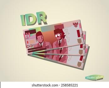 Indonesia Rupiah money paper minimal vector graphic design
