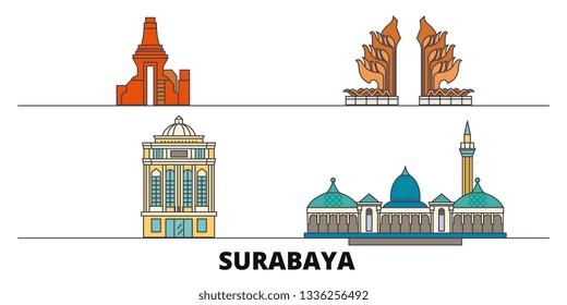Indonesia, Surabaya flat landmarks vector illustration. Indonesia, Surabaya line city with famous travel sights, skyline, design.