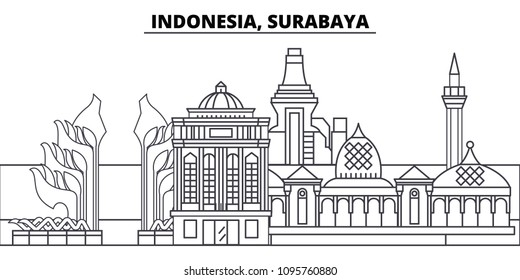 Indonesia, Surabaya line skyline vector illustration. Indonesia, Surabaya linear cityscape with famous landmarks, city sights, vector landscape.