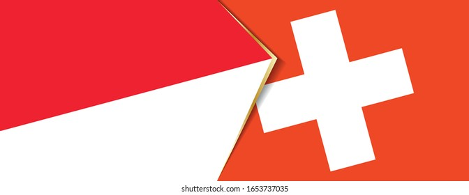 Indonesia and Switzerland flags, two vector flags symbol of relationship or confrontation.
