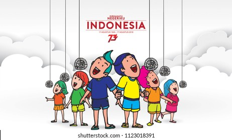 Indonesia traditional games during independence day, Crack feeding competition each other. celebration of freedom