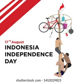 Indonesia traditional games during independence day, climbed the areca nut or greasy pole