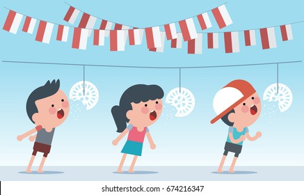 Indonesia traditional special games during independence day. Crack feeding competition. Flat Illustration style.
