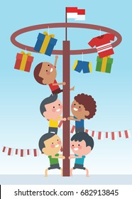 Indonesia traditional special games during independence day, children climbed the areca nut. Flat Illustration style.