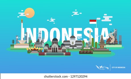 Indonesia Travel Flat Horizontal Composition with Popular Cities Iconic from Indonesia Landmarks - Vector Illustration