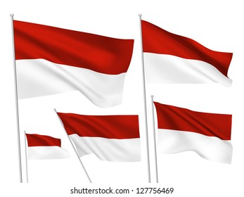 Indonesia vector flags set. 5 wavy 3D cloth pennants fluttering on the wind. EPS 8 created using gradient meshes isolated on white background. Five flagstaff design elements from world collection
