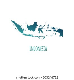 Indonesia vector map with color gradient and caption on white background. Can be used as element of your infographics or presentation