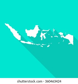 Indonesia white map,border flat simple style with long shadow on turquoise background