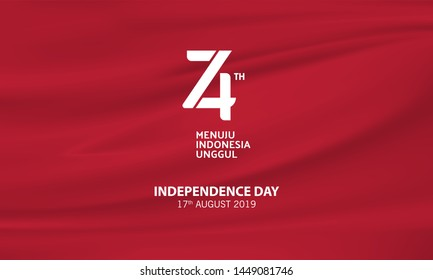 Indonesian 74th Birthday Logo With Red Wave Flag Background. Indonesia Independence Day -Vector Illustration