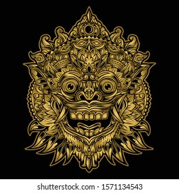 Indonesian Bali mask art Vector illustration barong masks balinese background black