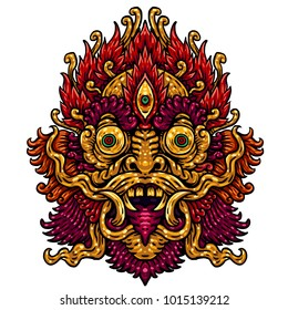 Indonesian Bali mask. Mythological Balinese art. Vector illustration isolated on the white background