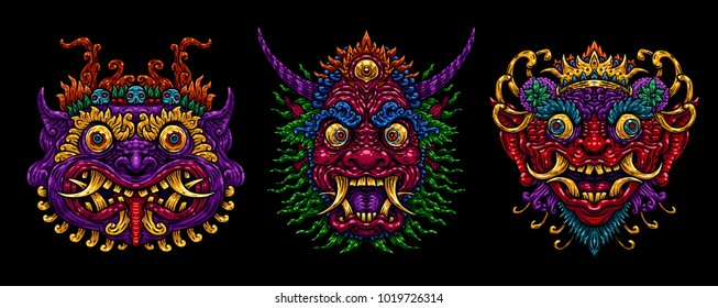Indonesian Bali mask set. Mythological Balinese art. Vector illustration isolated on the black background