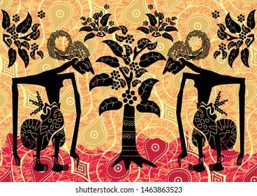 Indonesian batik motifs by displaying a very distinctive wayang kulit silhouette figure