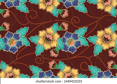 Indonesian batik motifs with very distinct flora patterns, with good color