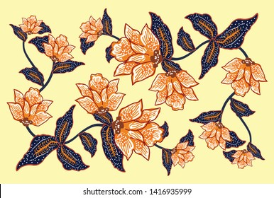 Indonesian batik motifs with very distinctive plant patterns