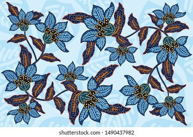 Indonesian batik motifs with very distinctive plant patterns