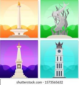 Indonesian Big City Landmark. Jakarta, Surabaya, Yogyakarta, and Padang. Vector Editable. For Tourist Web or Apps