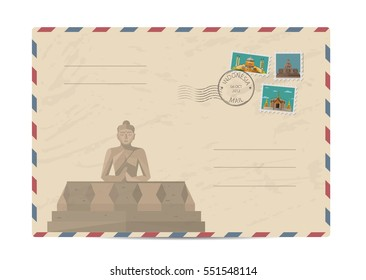 Indonesian Borobudur ancient temple . Postal envelope with architectural composition, postage stamps and postmarks on white background vector illustration. Postal services. Envelope delivery