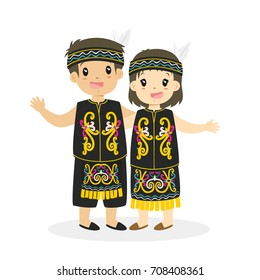 Indonesian boy and girl wearing Dayak traditional dress and holding hand, cartoon vector illustration
