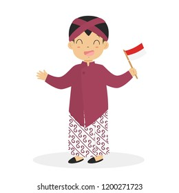 Indonesian boy wearing Jogjakarta traditional dress and holding an Indonesian flag cartoon vector