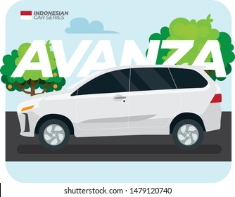 Indonesian Car Series: White Avanza in Flat Vector