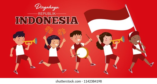 Indonesian children of various tribes are parading commemorating and celebrating the Indonesian Independence day. Dirgahayu is a long life for the Indonesian republic.