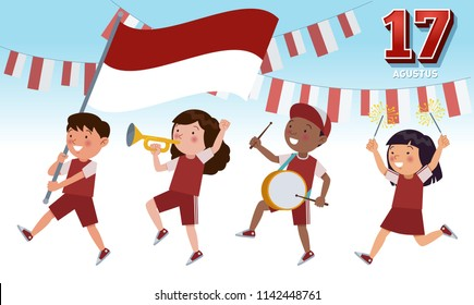 Indonesian children of various tribes are parading commemorating and celebrating the Indonesian Independence day