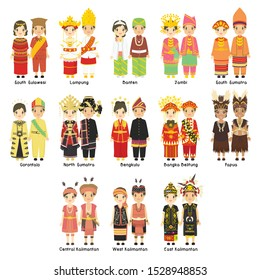 Indonesian couples wearing Indonesian traditional clothes cartoon vector collection. Indonesia traditional dress vector set