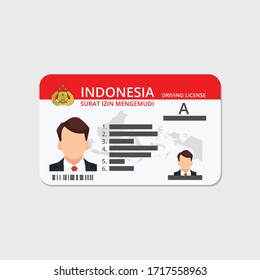 Indonesian driving license from the Indonesian police. vector SIM illustration