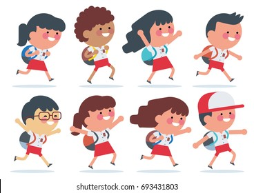 Indonesian elementary school student with red white uniform walking to School . Back to school. Children of various Ethnic Groups