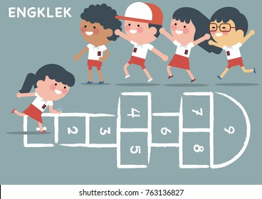 Indonesian elementary school student with red white uniform playing engklek, the Indonesian children traditional game. Children vector illustration
