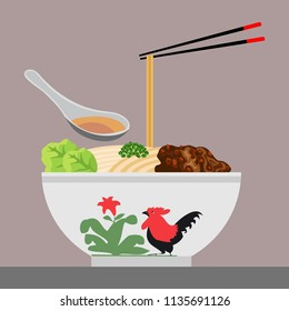 Indonesian famous noodle, Mie Ayam, Vector illustration