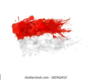 Indonesian flag made of colorful splashes
