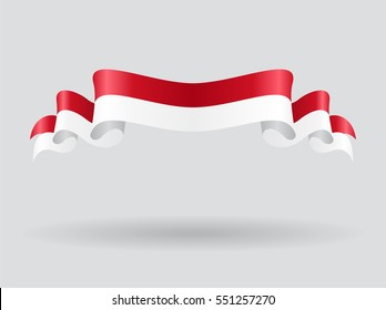 Indonesian flag wavy abstract background. Vector illustration.