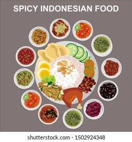 Indonesian food Nasi Campur Sambal