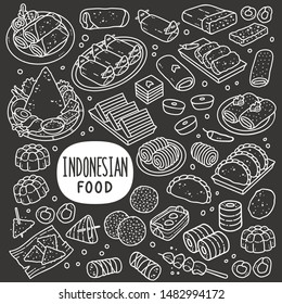 Indonesian foods and snack doodle drawing collection. Food and snack such as lumpia, lemper, onde-onde, tempe, jenang, lupis, gethuk, pastel, risole, jajan pasar etc. Hand drawn vector illustration