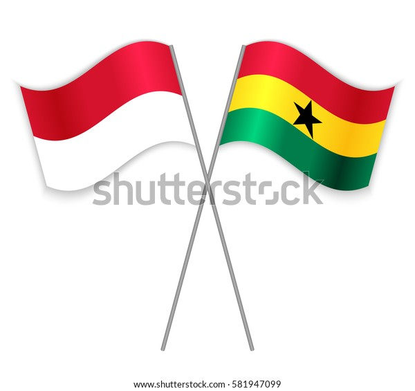 Indonesian and Ghanaian crossed flags. Indonesia combined with Ghana isolated on white. Language learning, international business or travel concept.