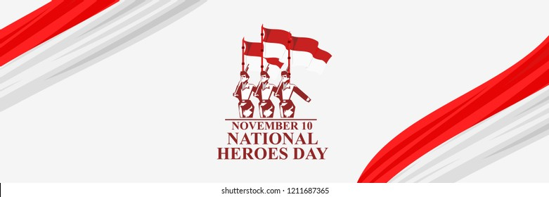 Indonesian heroes day (Hari Pahlawan) vector illustration. Suitable for greeting card, poster and banner.