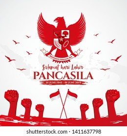Indonesian Holiday Pancasila Day Illustration. Translation: June 01, 1945-June 01, 2019 Happy Pancasila day. caption:  Unity in Diversity. Suitable for greeting card, poster and banner.