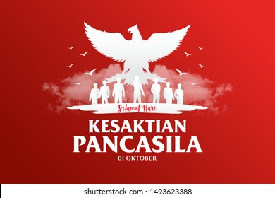 Indonesian Holiday Pancasila Day Illustration.Translation: October 01, Happy Pancasila day. Suitable for greeting card and banner