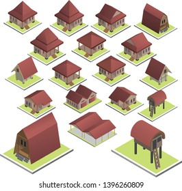Indonesian House Isometric Design Vector