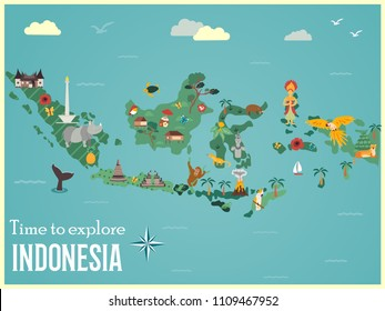 Indonesian map with animals and landmarks. Perfect for advertising, tourist guides, travel blogs, books, atlases.